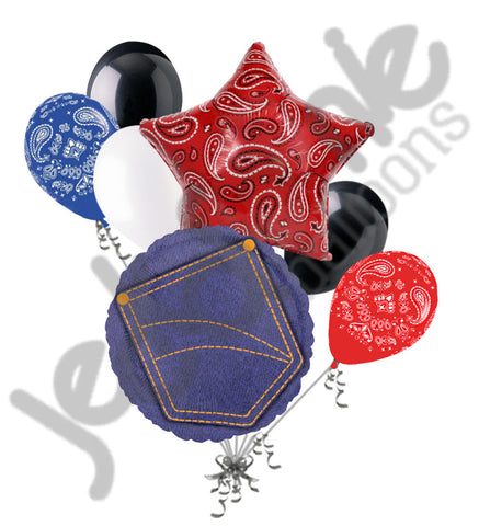 Blue Denim Pocket & Paisley Bandana Balloon Bouquet