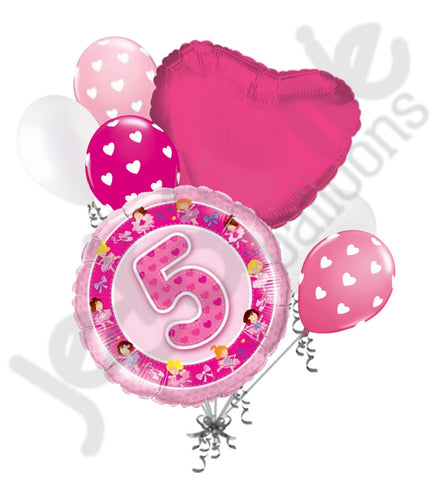 Happy 5th Birthday Ballerina Balloon Bouquet