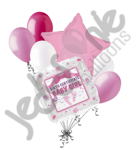 Baby Girl Birth Certificate Balloon Bouquet
