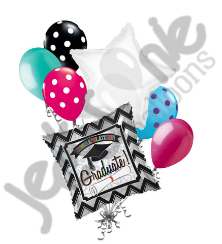 Chevron & Leopard Black & Silver Congratulations Graduate Balloon Bouquet