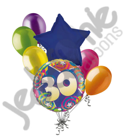 Colorful 30th Stars & Swirls Balloon Bouquet