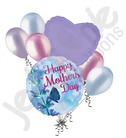 Blue Flower & Butterfly Happy Mother's Day Balloon Bouquet