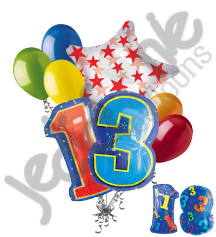 13th Birthday Themed Number Balloon Bouquet