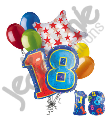 18th Birthday Themed Number Balloon Bouquet
