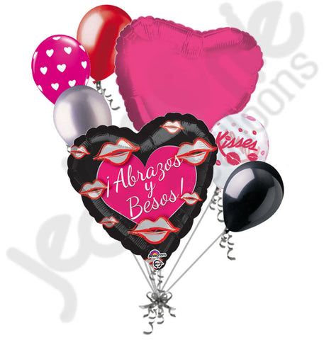 Abrazos y Besos! Valentines Day Balloon Bouquet