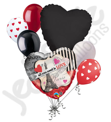 All I Need is Love Paris Heart Balloon Bouquet