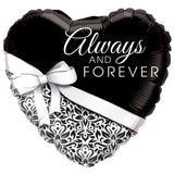 Always & Forever Black & White Damask Balloon Bouquet