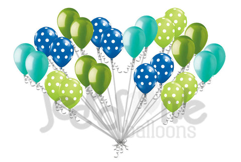 Brilliant Blue & Lime Green Polka Dot Latex Balloons