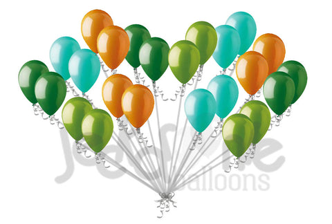Aqua Green Orange Dinosaur Inspired Latex Balloons