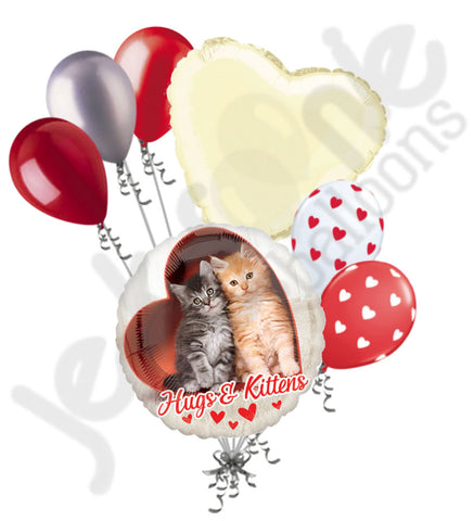 Avanti Hugs & Kittens I Love You Happy Valentine's Day Heart Balloon Bouquet
