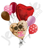 Avanti Pugs & Kisses I Love You Happy Valentine's Day Heart Balloon Bouquet