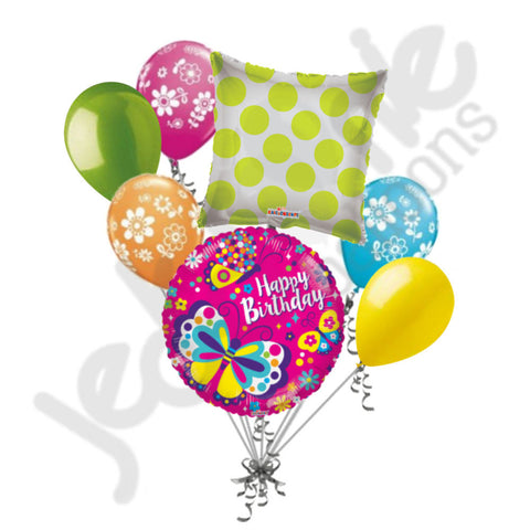 Bright & Colorful Butterfly Happy Birthday Balloon Bouquet