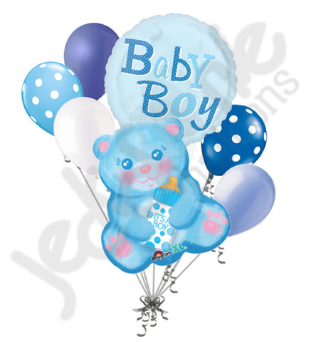 Baby Boy Blue Bear Balloon Bouquet