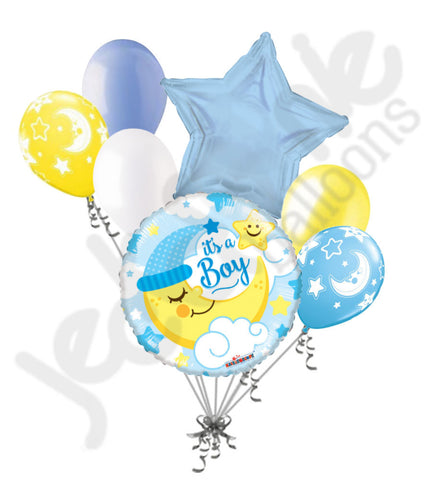 Baby Boy Sleeping Moon Balloon Bouquet