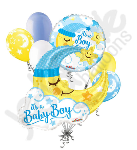 Baby Boy Sleeping Moon Jumbo Balloon Bouquet