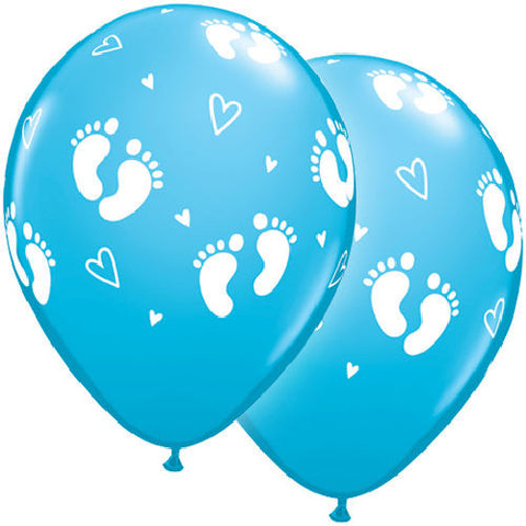 Baby Boy Blue Footsies Feet Latex Balloons