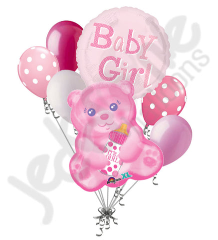 Baby Girl Pink Bear Balloon Bouquet