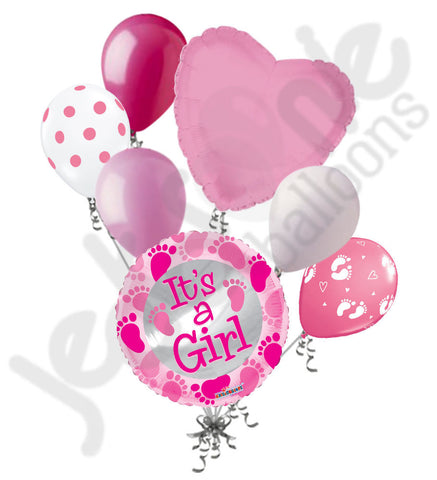 Baby Girl Feet Pink Balloon Bouquet