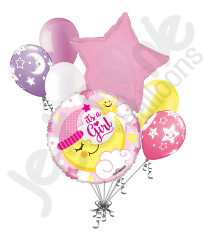 Baby Girl Sleeping Moon Balloon Bouquet