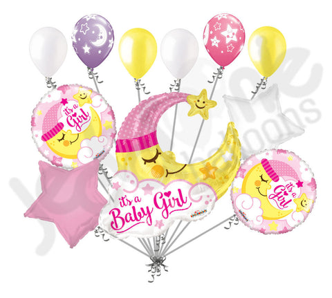 Baby Girl Sleeping Moon Large Balloon Bouquet