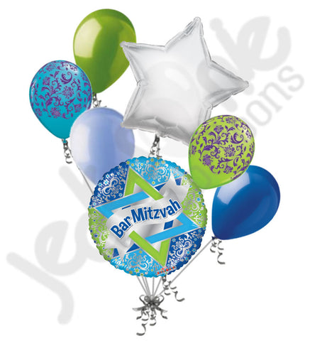 Bar Mizvah Blue Damask Balloon Bouquet