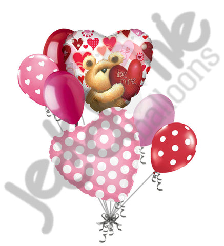 Be Mine Teddy Bear Heart Balloon Bouquet