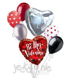 Red & Black Hearts Be My Valentine Balloon Bouquet