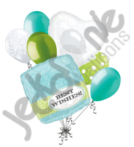 Aqua & Lime Green Damask & Dots Best Wishes Balloon Bouquet
