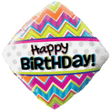 Colorful Chevron Pattern Happy Birthday Balloon Bouquet