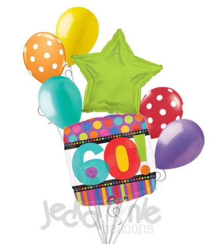 Stripes & Dots 60th Square Balloon Bouquet