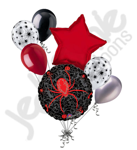 Black Widow Spider Web Happy Halloween Balloon Bouquet