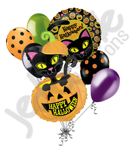 Black Cat in Pumpkin Happy Halloween Balloon Bouquet