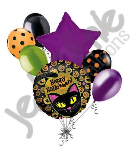Black Cat Yellow Eyes Happy Halloween Balloon Bouquet