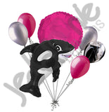 Black & Pink Orca Killer Whale Balloon Bouquet