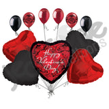 Black Scrolls & Boa Border on Red Happy Valentine's Day Balloon Bouquet
