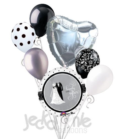 Black & White Bride & Groom Happily Ever After Balloon Bouquet
