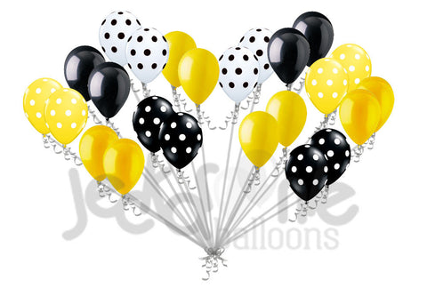 Bumble Bee Inspired Black, Yellow & White Latex Balloons