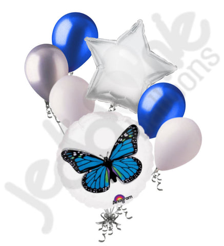 Blue Monarch Butterfly Round Balloon Bouquet