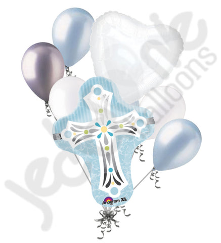 Blue Cross Boy Communion Baptism Blessing Balloon Bouquet