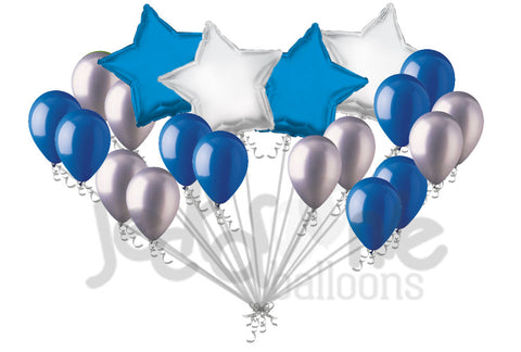 Blue & Silver Stars & Latex Balloons