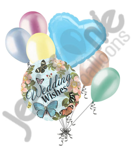 Bontanical Wedding Wishes Flowers & Butterfly Balloon Bouquet