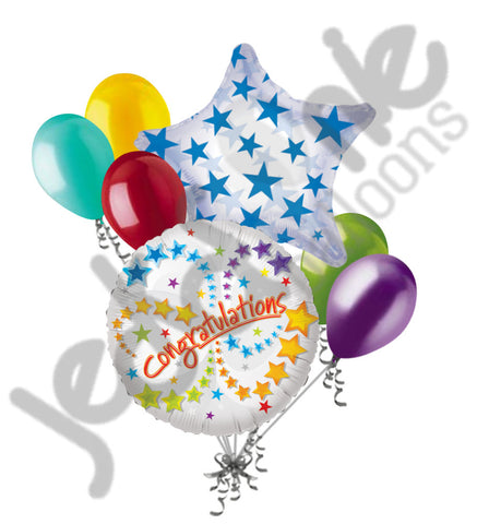 Congratulations Stars Swirls Balloon Bouquet
