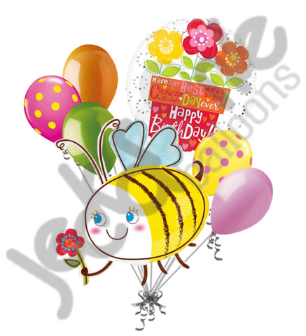 Bumblebee & Flowers Happy Birthday Balloon Bouquet