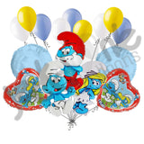 Cartoon Smurf Family Balloon Bouquet