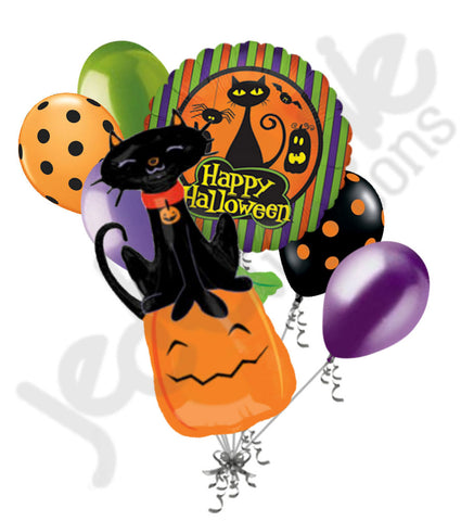 Black Cat & Pumpkin Happy Halloween Balloon Bouquet