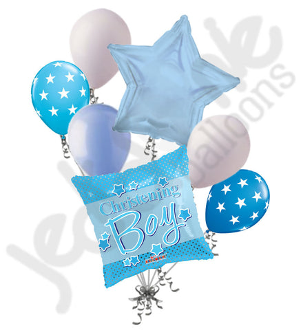 Christening Boy Blue Balloon Bouquet