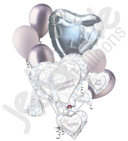 White Christening Celebration Balloon Bouquet
