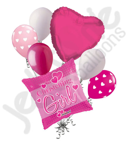 Christening Girl Pink Balloon Bouquet