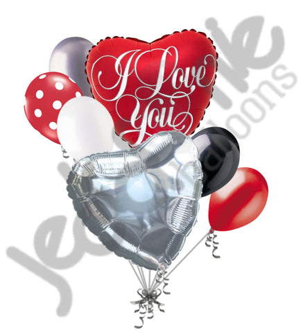 Classic Red Heart I Love You Script Balloon Bouquet
