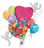 Colorful Love Hearts Balloon Bouquet